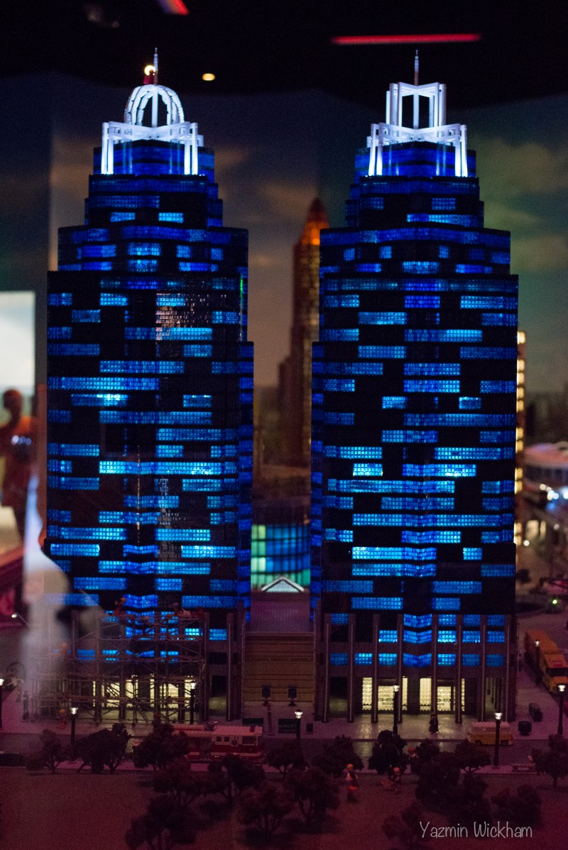 Lego King and Queen Towers at night