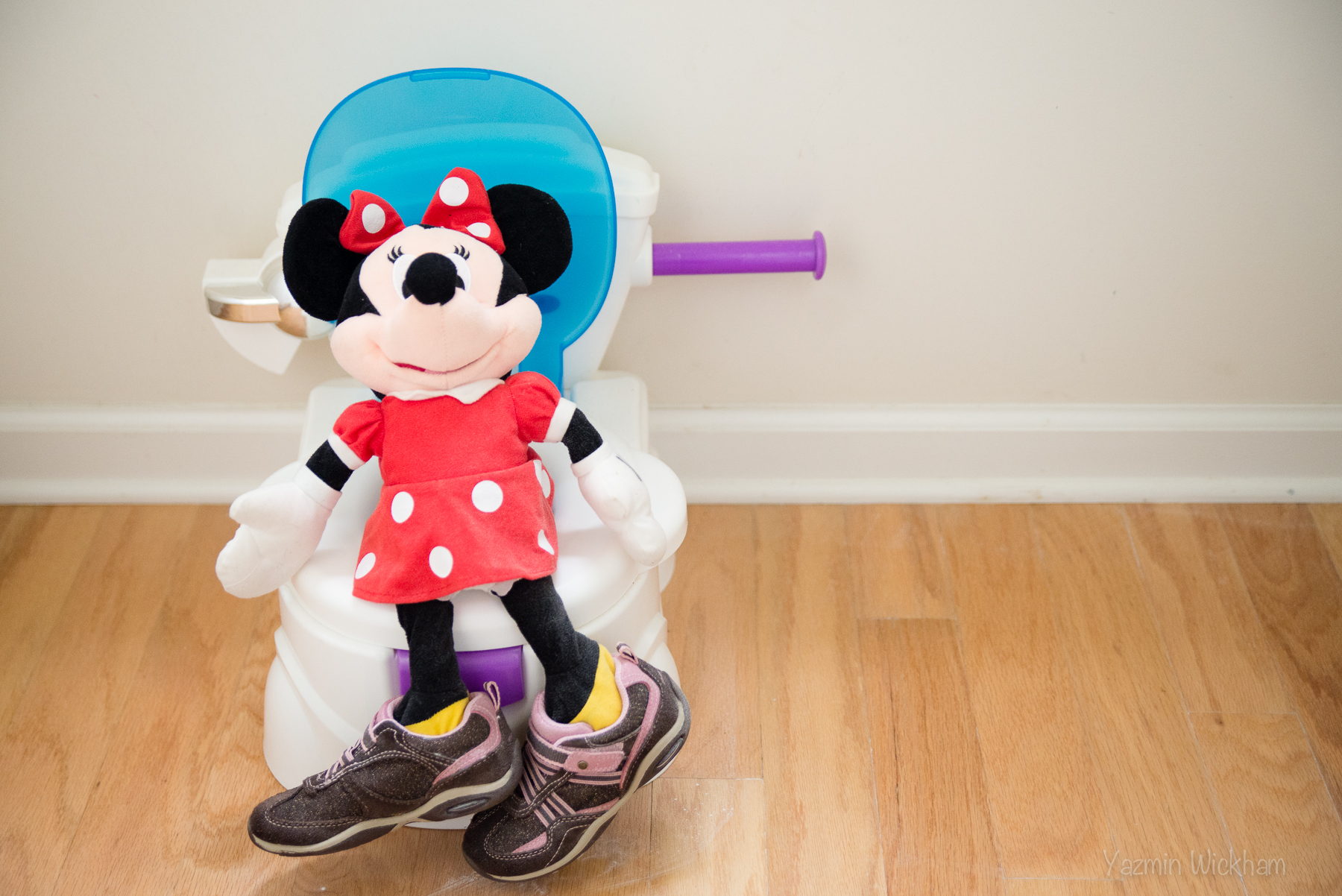 {239/365} Minnie wearing the girl's shoes and learning how to go potty