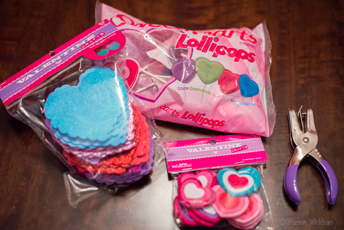 Foam hearts, heart stickers and heart lollipops for Valentine's Day presents