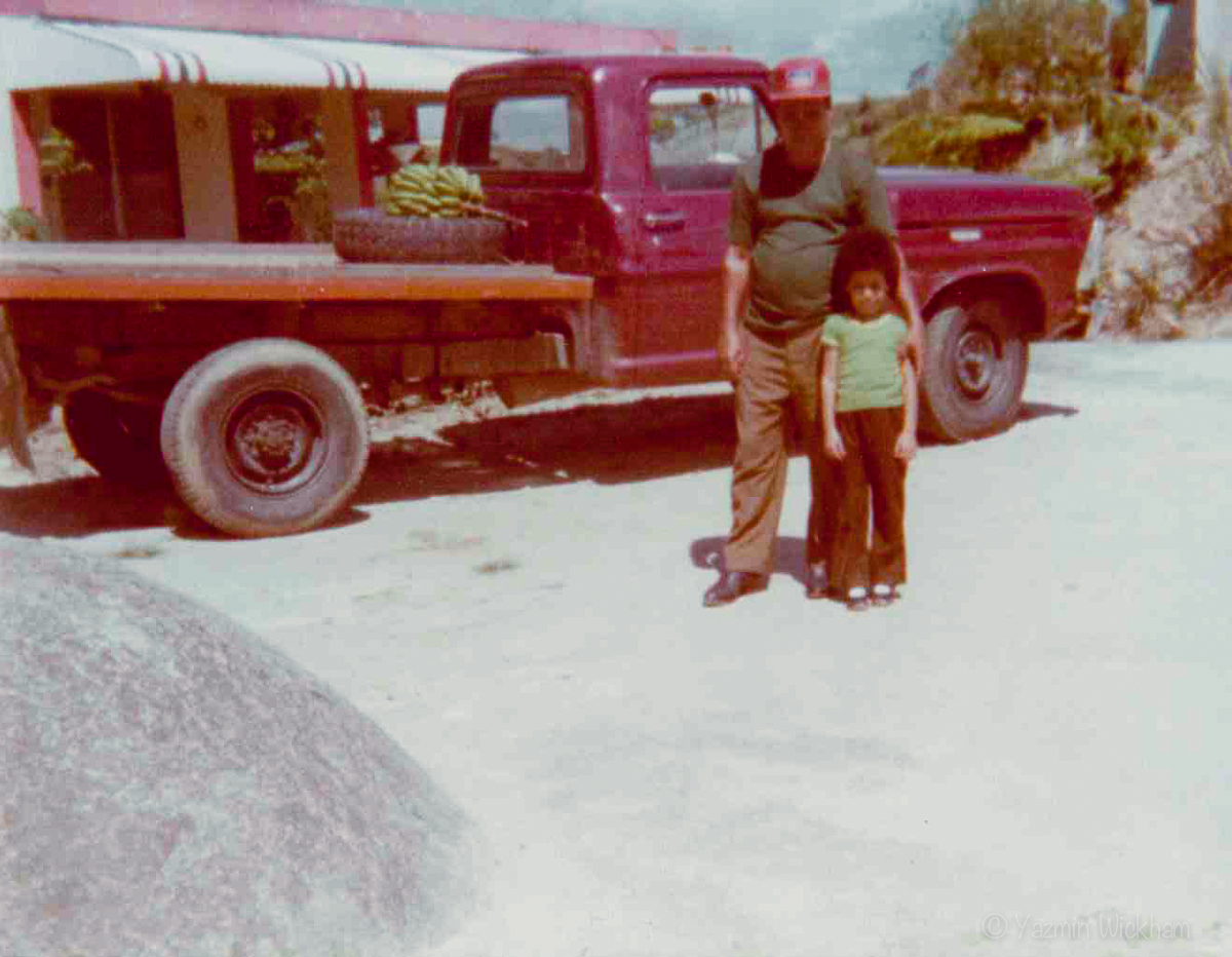 With Abuelito in front of a truck